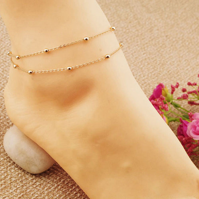 beads gold anklet women leaves fashionable bracelet plated p online ankle