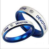 USA Blue Stainless Steel Ring Love Devotion Ring Couple Promise Wedding Rings