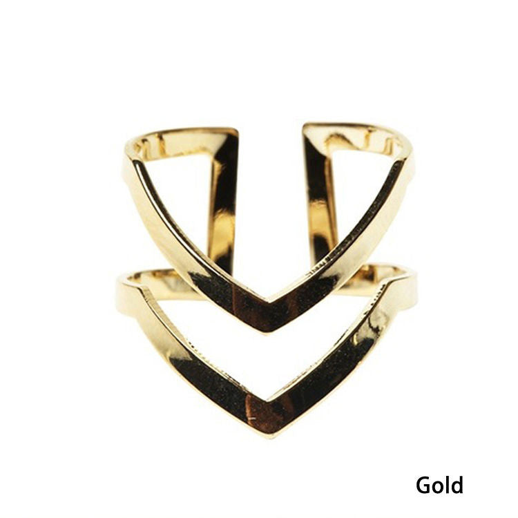 US Gold Silver Plated Double V-shaped Half Opened Adjustable Woman Rings Jewelry