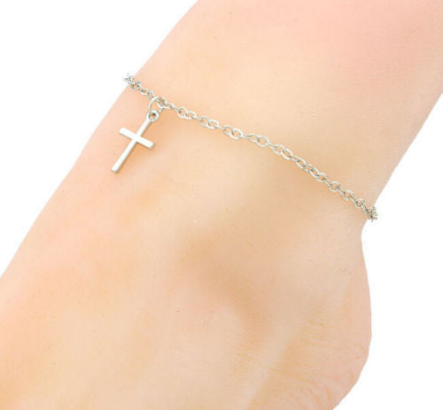 USA Fashion Women Silver Cross Anklet Beach Barefoot Foot Chain Ankle Jewelry