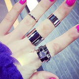 USA 4Pcs Set Fashion Women Punk Stack Plain Knuckle Finger Ring Band Midi Rings