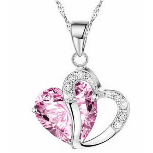 Women Pink Heart Amethyst Crystal Silver Chain Pendant Necklace Jewelry