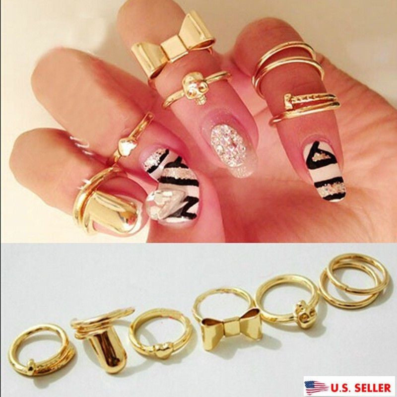 Fashion 7PCS Set Gold Skull Stack Plain Women Above Knuckle Ring Band Midi Rings