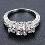Wedding Bride 18K Gold Platinum Plated Cubic Zirconia Ring Engagement