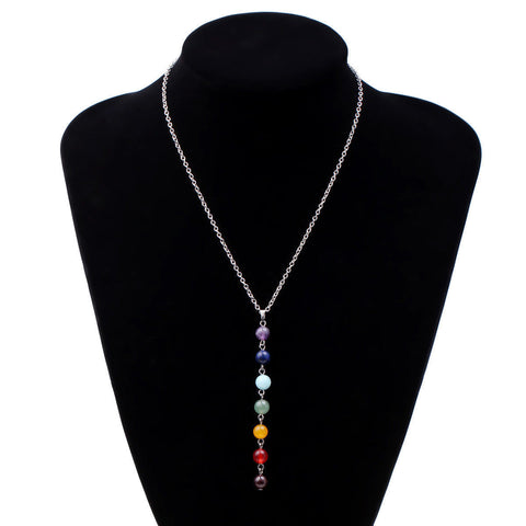 7 Chakra Beads Pendant Chain Necklace Women Yoga Reiki Healing Balancing Jewelry