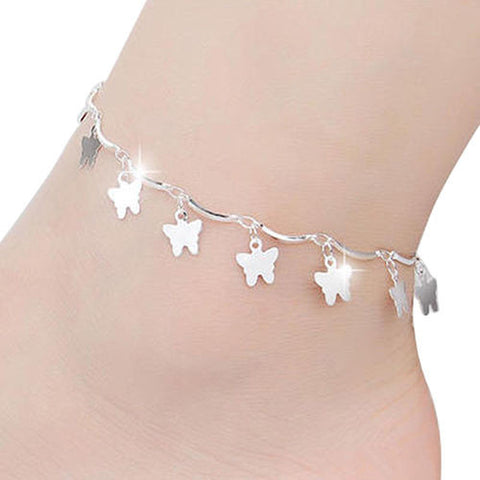 Ladies Fancy Style Women's Silver Plated Butterfly Charms Anklets Foot Bracelet