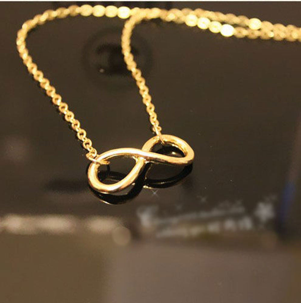 USA Gold or Silver Plated Polished Infinity Symbol Forever Love Pendant Necklace