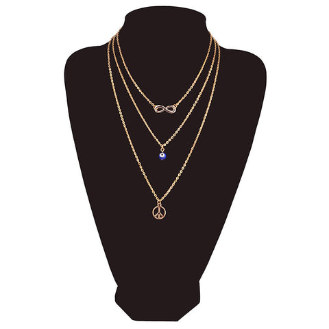 3 layers Gold Plated Simple Chain Eye Infinity Peace Symbol Multi Layer Necklace