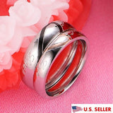 2PCS Real Love Heart Shape Titanium Steel Couple Ring Set Promise Wedding Ring