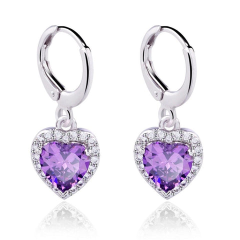 Platinum White Gold Plated Heart Shape Zircon Crystal Hoop Wedding Earrings