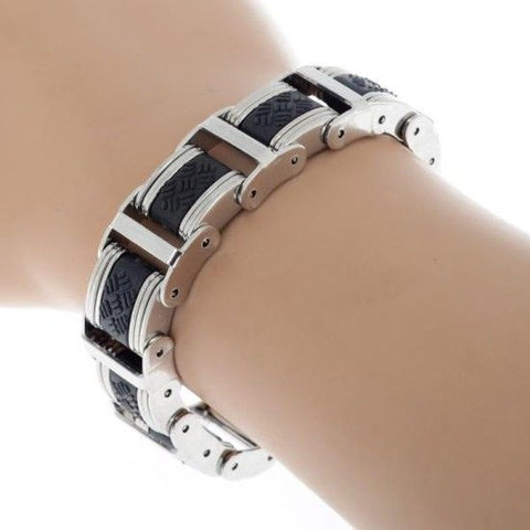 Korean Style Black Silicone Silver Stainless Steel Chain Wristband Bracelet