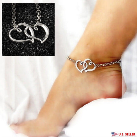 USA Double Heart Shape Women Silver Anklet Chain Ankle Bracelet Anklets Jewelry