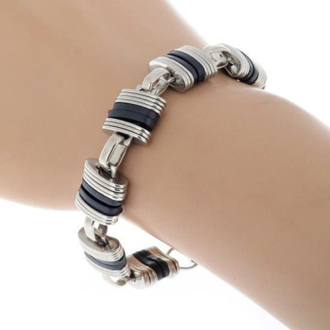 Fashion Men Silver Stainless Steel Black Silicone Link Chain Bracelet Wristband