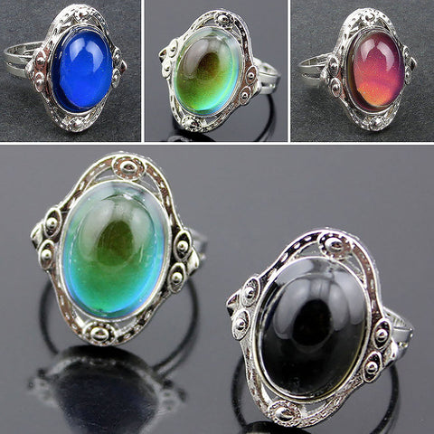1pcs Mood Ring Adjustable Changing Color Temperature Control Women Jewelry