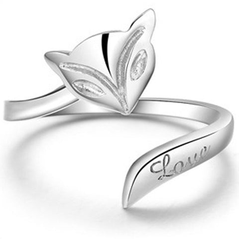 925 Sterling Silver Fashion Silver Lady Fox Ring Finger Opening Adjustable Ring