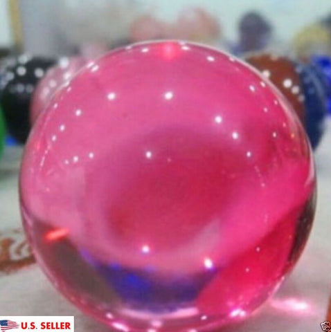 USA 40mm+Stand Asian Rare Natural Pink Magic K9 Crystal Healing Ball Sphere