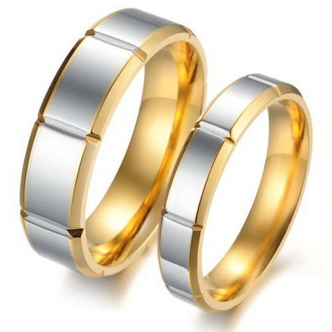 2PCS 18k Gold Titanium Steel Couple Ring Set Engagement Promise Wedding Rings