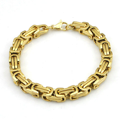 6mm Gold Color Stainless Steel Byzantine Link Chain Bangle Men's Bracelet