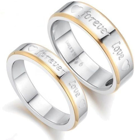 2PCS Gold Edge Forever Love Titanium Steel Couple Ring Promise Wedding Rings