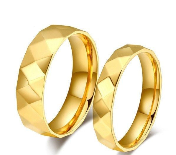 USA 2pcs 18k Gold Plated Faceted Style Couple Ring Set Promise Wedding Rings