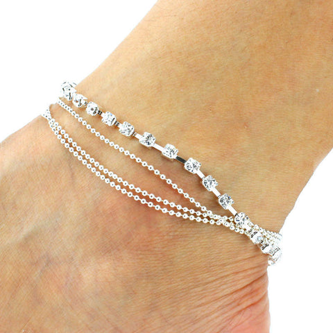 c6bf5c039 ... New Sparkly 4 Layers Crystal Beads Sandal Beach Anklet Ankle Chain Foot  Jewelry ...