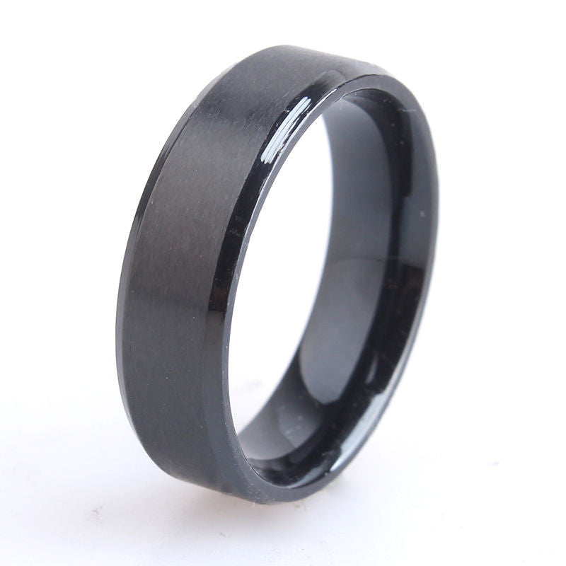 USA 6MM Men Black Titanium Stainless Steel Promise Engagement Wedding Ring Band