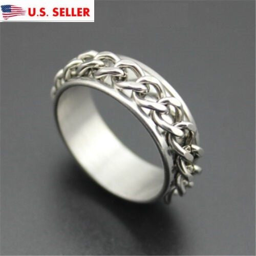 USA 7MM Silver Chain Silver Stainless Steel Engagement Promise Couple Ring