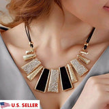 US Women's Choker Fashion Beads Enamel Bib Leather Braided Rope Chain Necklace
