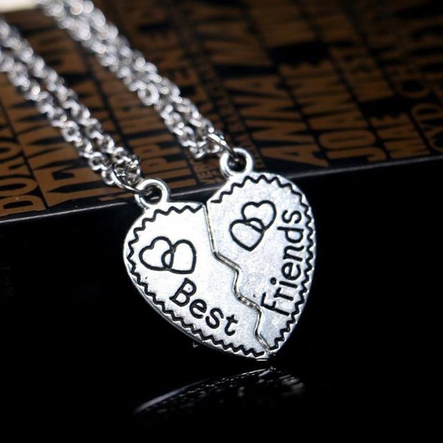 USA 2PCS Heart Puzzle Silver Best Friend Forever Friendship Pendant Necklace