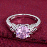 USA Fancy Shinning Pink CZ Crystal jewelry Silver Plated Wedding Rings for Women