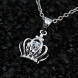USA Women's Jewelry Royal Crown Decoration Pendant Crystal Statement Necklace