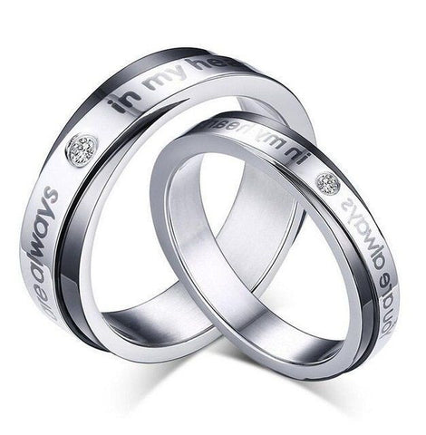 2PC You Are Always In My Heart Stainless Steel Couple Ring Promise Wedding Rings