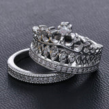 US Fashion Princess Women Silver Plated Rhinestone Crown Statement Ring Size 5-8