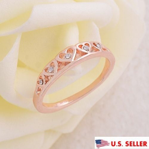 USA Womens 14K Rose Gold Plated AAA CZ Zirconia Cute Heart Shape Ring Size 8