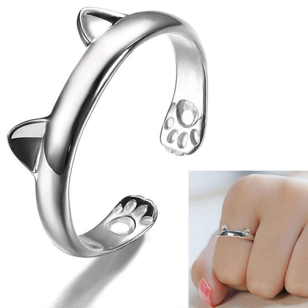 USA Fashion Women Silver Cute Cat Kitten Ears Animal Design Ring Adjustable Gift