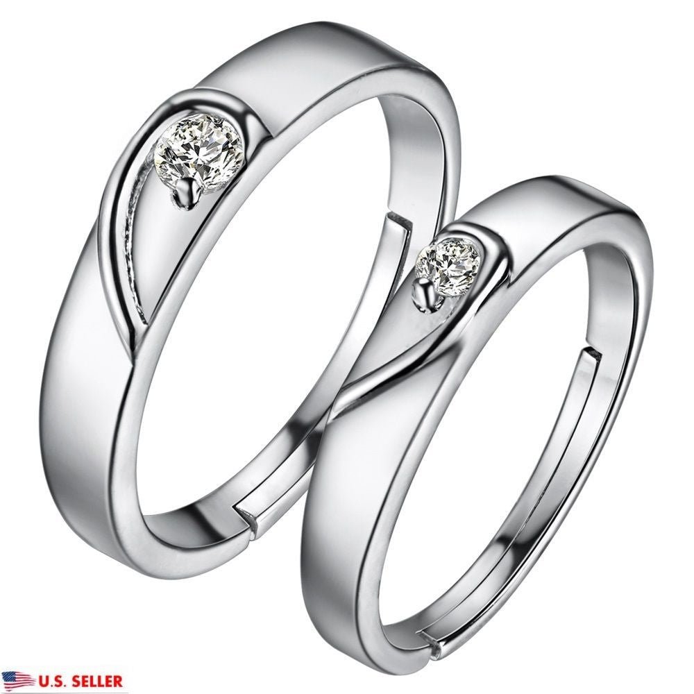 925 Sterling Silver Romantic Heart Shape Zircon Adjustable Couple Matching Rings