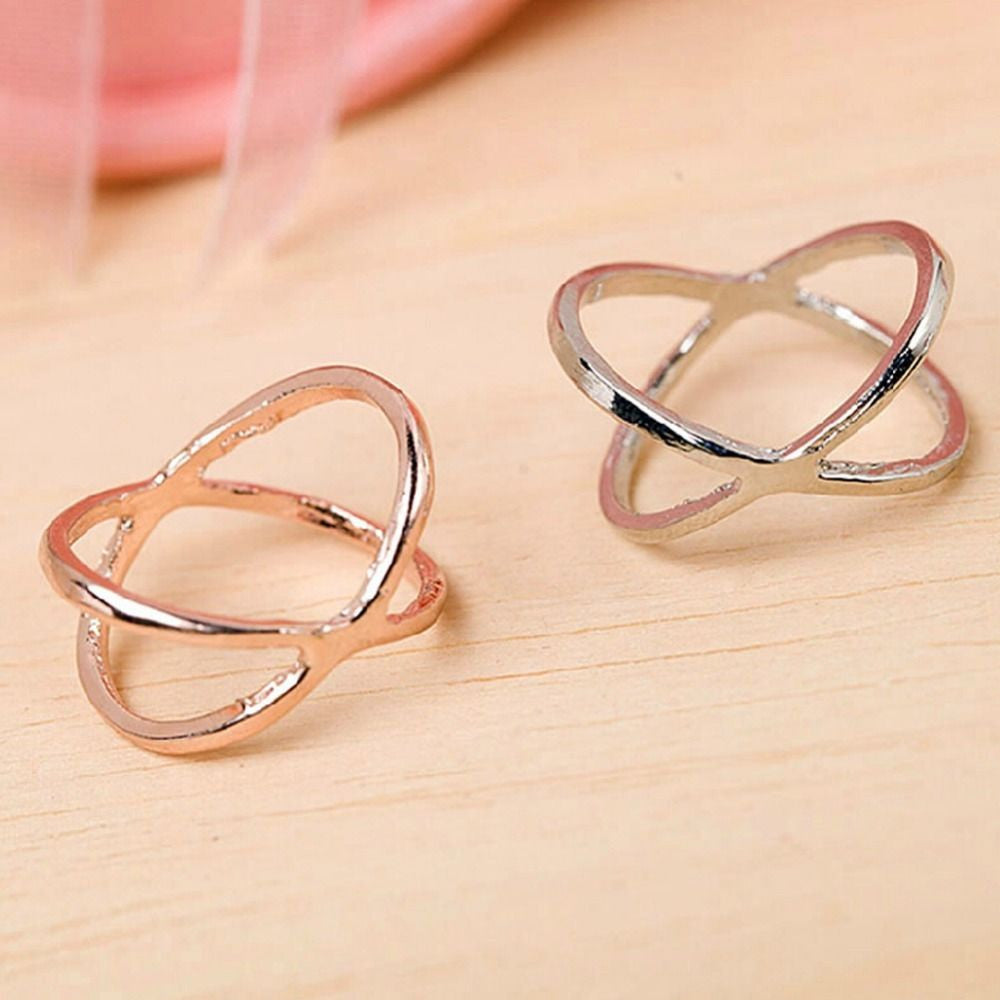 USA Silver Plated or 18k Gold Plated Women Criss Cross Ring Setting X Ring