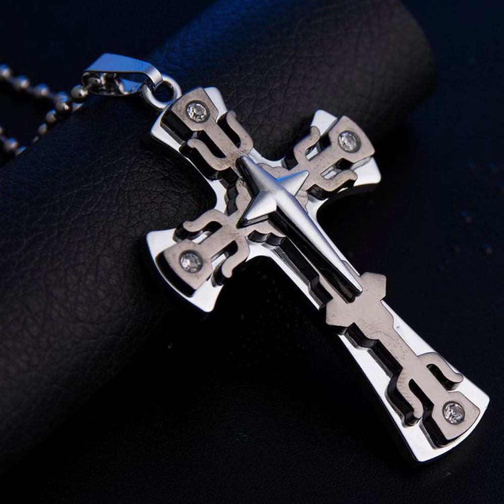 USA Men Women Gold/Black Titanium Steel Cross Pendant Couple Necklace Chain