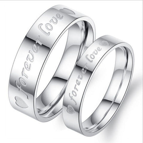 2Pcs Forever Love Stainless Steel Ring Couple Promise Wedding Silver Rings