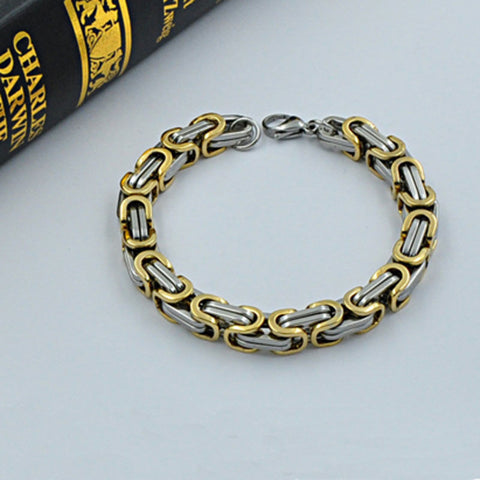 Gold & Silver Stainless Steel Men's Chain Link Bracelet Wristband Cuff Bangle