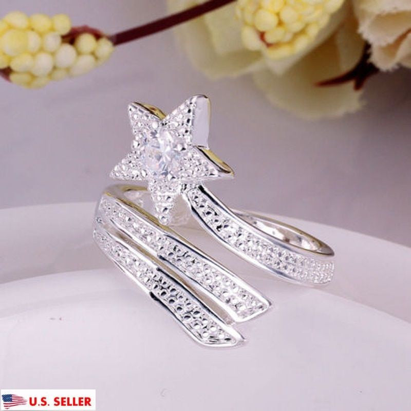 US Women Silver Plated Adjustable Silver Star Ring Opening Ring Fashion Jewelry