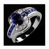 USA Women Blue Gemstone Silver Plated Engagement Wedding Promise Couple Ring