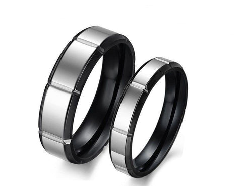 2Pcs Black & Silver Stainless Steel Couple Matching Wedding Promise Rings band
