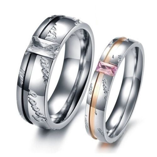 2Pcs Love You Titanium Stainless Steel Couple Ring Set Promise Engagement Rings
