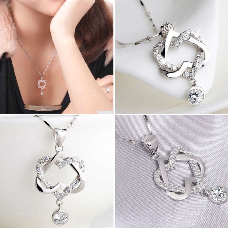 New Silver Plated Fashion Women Double Heart Pendant Necklace Chain Jewelry