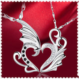 USA Men Women New Stainless Angel Wings Heart Shape Pendant Couple Necklaces