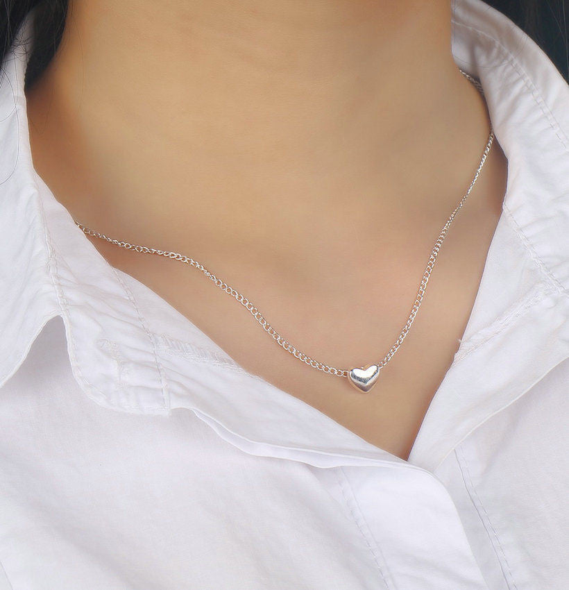 USA Silver Plated Chain Women Heart Shape Necklace Pendant Ladies Girl Necklace