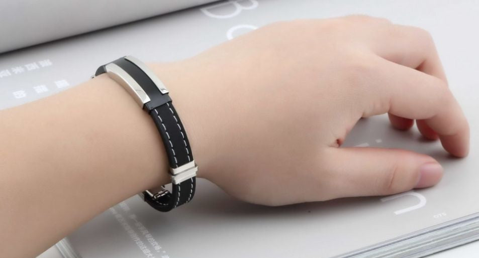 Unisex Black Silicone Silver Stainless Steel Chain Wristband Bracelet Bangles