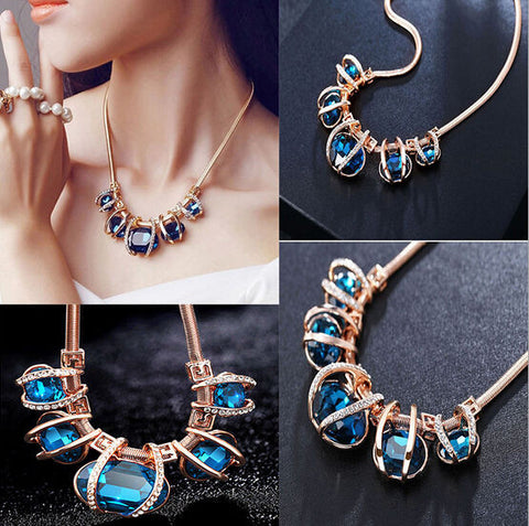 Fashion Blue Bib Necklace Choker Chain Statement Crystal Pendant