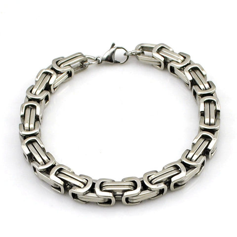 6mm Silver Color Stainless Steel Byzantine Link Chain Bangle Men's Bracelet